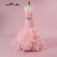 weilinsha Sexy Romantic Mermaid Organza Wedding Dresses with Beading Crystal Pleats Sequined Charming Vestido de Noiva