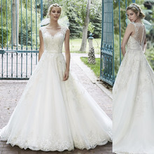 Lace Beaded Illusion Neck A line Wedding Dresses Factory Custom Make