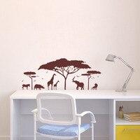 African Safari Animal Wall Sticker Tree Wall Decal Nature Giraffe Wall Art Nursery Decor