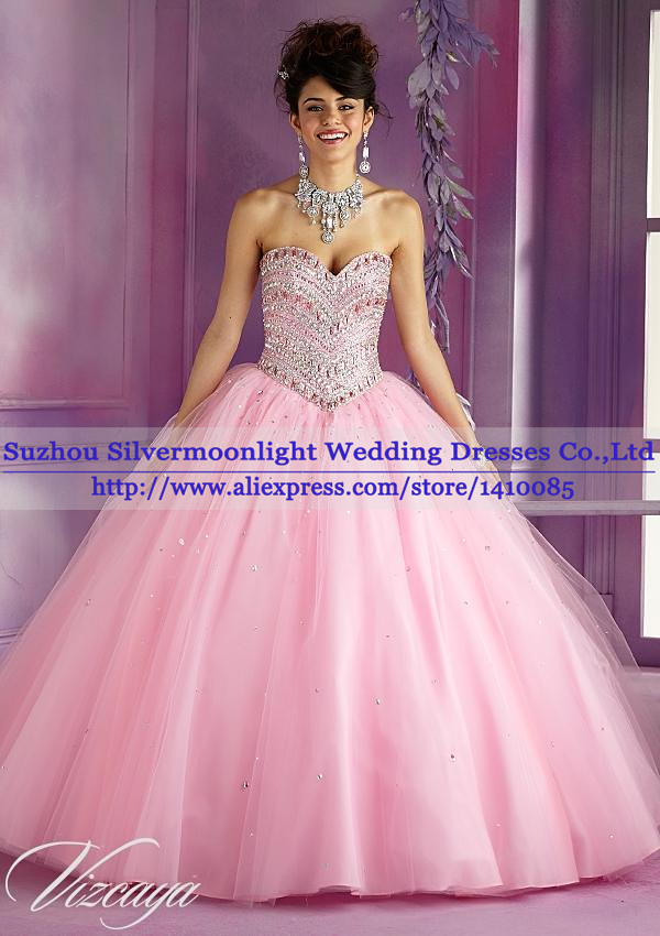Sparkly Crystal Beaded Puffy Quinceanera Dresses 2014 Ball Dresses ...