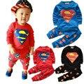 2017 nueva hero superman unisex del bebé conjuntos niños primavera otoño muchachas de la marca bebé niños traje de moda de manga larga t-shirt ropa