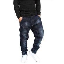 Хип-хоп гарем джинсы мужские спортивные штаны джинсы хлопок стрейч Свободные мешковатые джинсовые брюки дизайнерская мужская одежда размера плюс 28-42