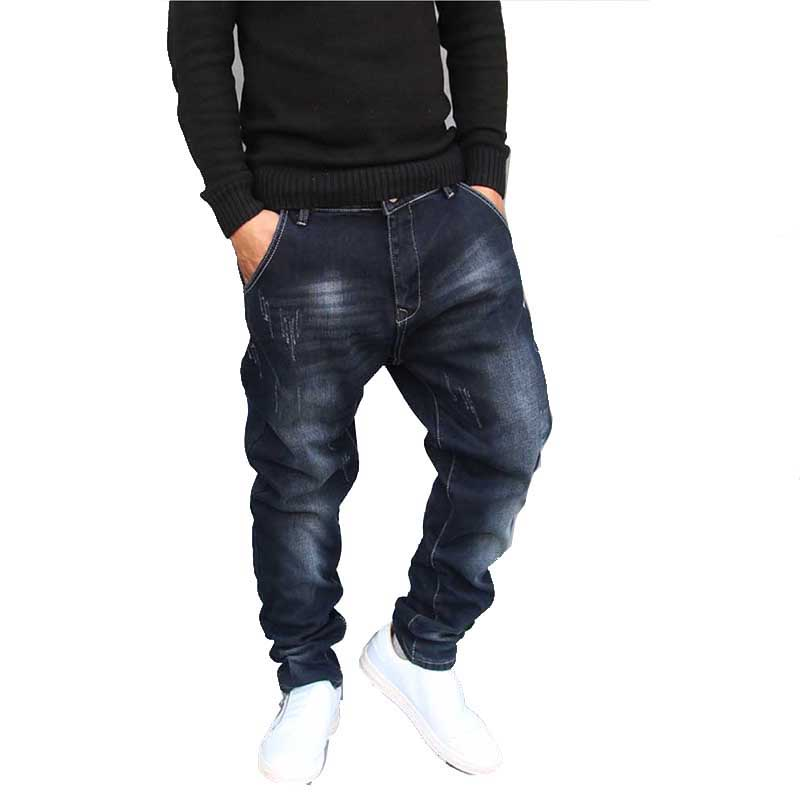 Hip Hop Harem   Jeans   Mens Jogger Pants   Jeans   Cotton Stretch Loose Baggy Denim Trousers Designer Men Clothes Plus Size 28-42