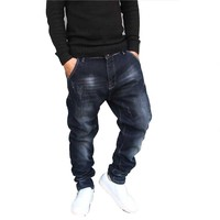 Hip Hop Harem Jeans Mens Jogger Pants Jeans Cotton Stretch Loose Baggy Denim Trousers Designer Men Clothes Plus Size 28 42
