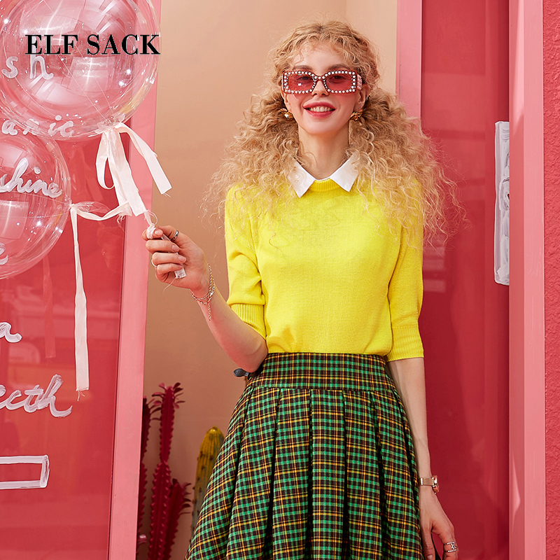 ELF SACK Cotton Patchwork Detachable Collars Women Sweater 2019 Spring Summer Sweet Yellow Femme Sweaters Solid Basis Woman Tops