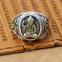 NEW Handmade 925 Silver Ganesha Ring Male Ring Vintage Thailand Silver Ganesha Buddha Ring Ganesh Ring