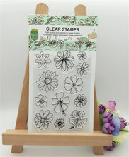 """special christmas """"flowers design"""" silicon stamps scrapbooking stamp for kids diy paper card wedding photo Album LL-205"""