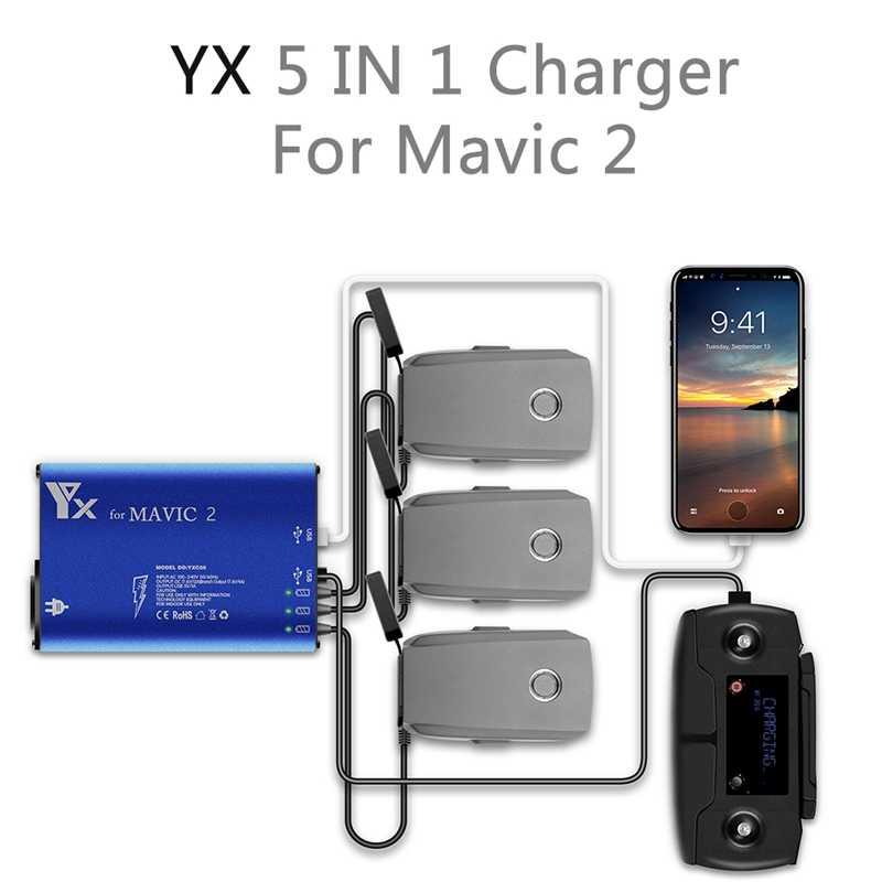 Mavic 5 em 1 2 Carregador 3 Maneira 2 Porta Usb de Carregamento Da Bateria do Telefone De Controle Remoto de Carga Tablet Para- dji Mavic 2 Pro Carregador Zoom H