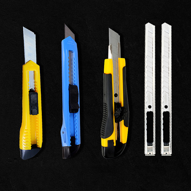 Metal Mini Utility Knife Photo Box Paper Cutter Safety Blade Craft Tools Office School Supplies