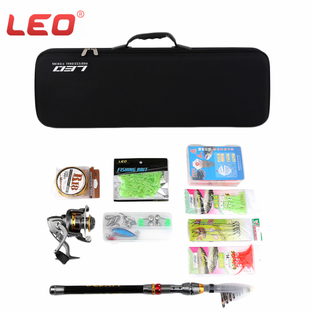 LEO Telescopic Fishing Rod Reel Combo Full Kit Spinning Fishing Reel Pole Set + Fishing Line Lures Hooks + Carrier Bag Fish Tool free shipping gw guangwei 2 1 2 4 2 7 3 0 3 6m 6 segments ice fishing rod fishing pole spinning rod telescopic fishing rod