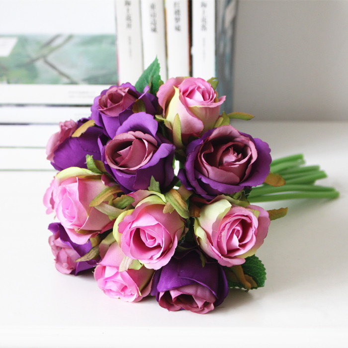 12pcs silk rose bridal wedding bouquets artificial rose bride 12pcs silk rose bridal wedding bouquets artificial rose bride bridesmaid flowers silk rose cream pink red purple blue wedding in artificial dried flowers mightylinksfo