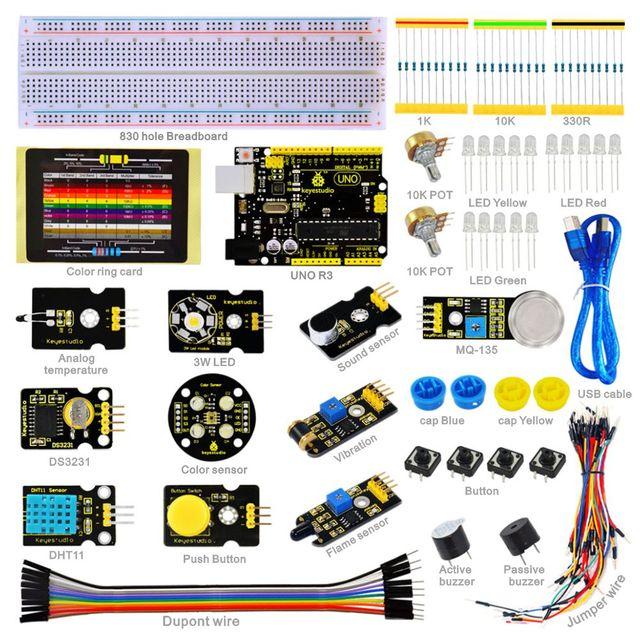 2016 NOVO! sensor de keyestudio kit-k3 com uno r3 board para mcu começar + pdf