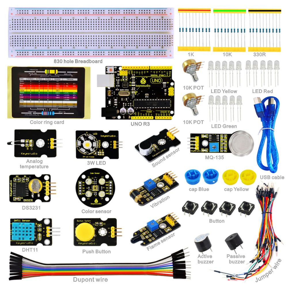Keyestudio Sensor starter  Kit- K3 For Arduino Education Learning Programming + UNO R3+DHT11+DS3231+Color sensor/19 ProjectsKeyestudio Sensor starter  Kit- K3 For Arduino Education Learning Programming + UNO R3+DHT11+DS3231+Color sensor/19 Projects