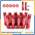 RASTP - M12X1.5 20 Pcs 326 Power Racing Red Alloy Aluminum 90MM Wheel Lug Nut with Crown Caps LS-LN039