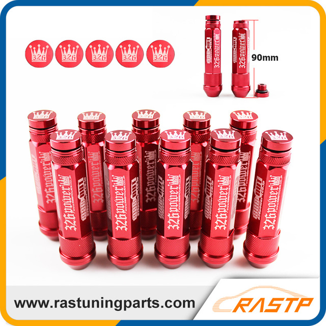 RASTP - M12X1.5 20 Pcs 326 Power Racing Red Alloy Aluminum 90MM Wheel Lug Nut with Crown Caps LS-LN039