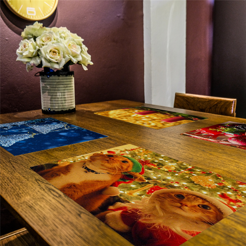Dining Table Insulation Mat Solid Placemat Polyester Linen Non slip Mats Kitchen Accessories Decorative Home Mat Coasters in Mats Pads from Home Garden