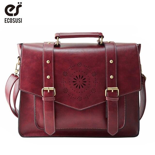 ECOSUSI New Women PU Leather Handbag High Quality Retro Women Messenger Bags Famous Designer Leather Briefcase Shoulder Bag