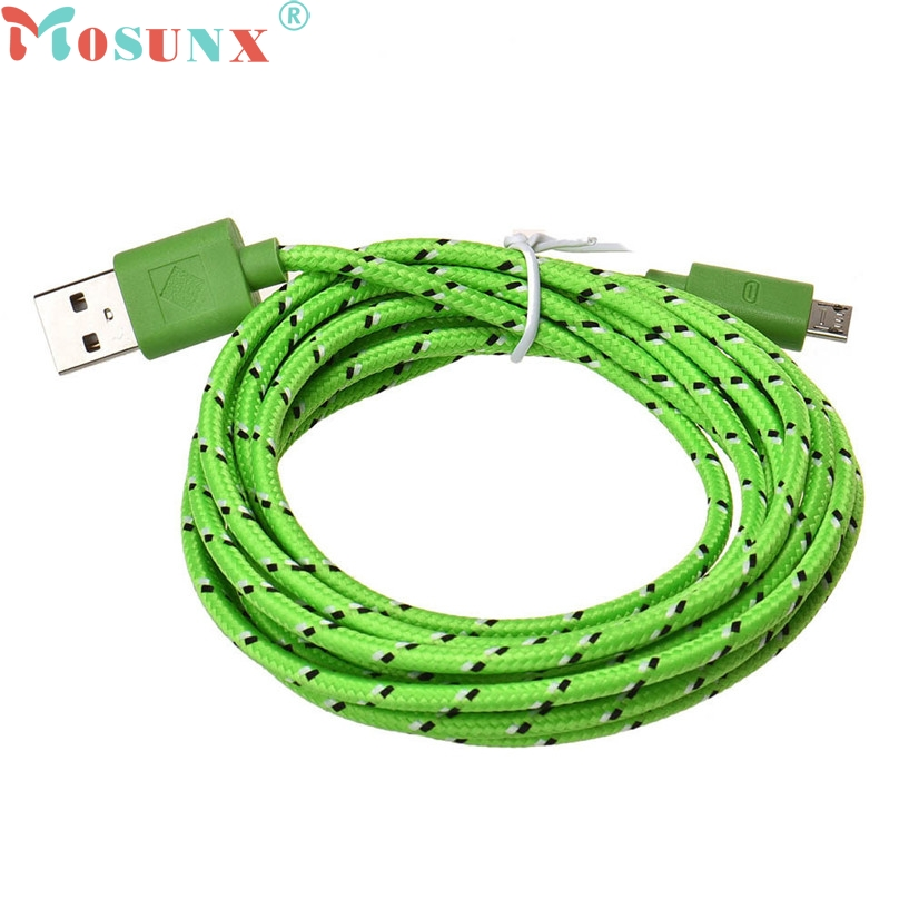 Mosunx New Mecall 3m/10ft Hemp Rope Micro Usb Charger Sync Data Cable Cord For Cell Phone Wholesale Computer & Office