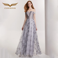 CONIEFOX 32183 Sexy Fashion personality Silver sexy Ladies Retro elegance Appliques prom dresses party evening dress gown long