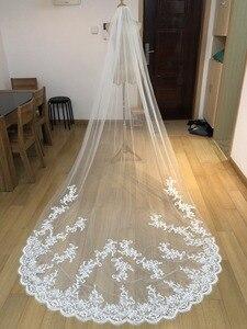 Image 2 - 1 camada de renda appliqued véu casamento nupcial longo pente acessórios do casamento mantilla velos novia ee2003