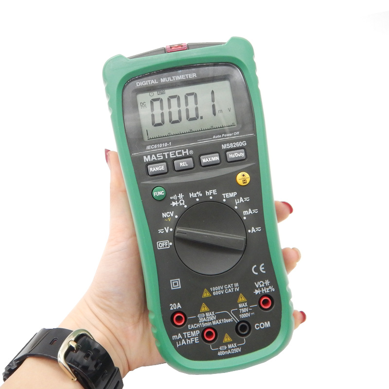 MASTECH MS8260G Auto Range Digital Multimeter ohm voltage and current Capacitance Frequency Temperature Meter mastech my68 handheld lcd auto manual range dmm digital multimeter dc ac voltage current ohm capacitance frequency meter