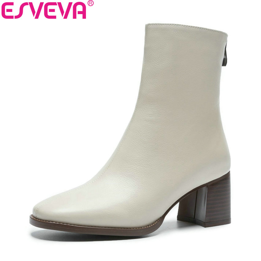 ESVEVA 2019 Zipper Sewing Women Shoes Square Toe Square High Heels Ankle Boots Shoes Western Style Autumn Woman Boots Size 34-40 esveva 2019 ankle boots for women shoes round toe square high heels synthetic woman boots shoes autumn ladies boots size 34 39