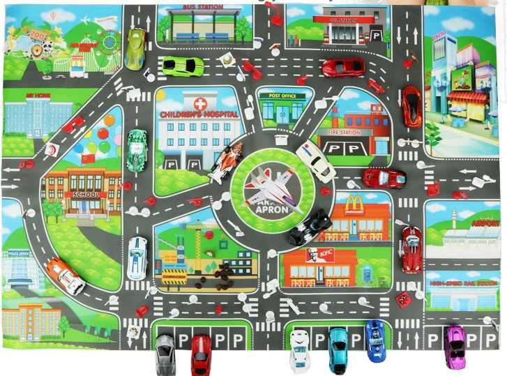 Aircraft Train Truck Car Toy Lifelike City Map Traffic Sign Roadblock Sign Road Learning Education Interesting Toys for Children