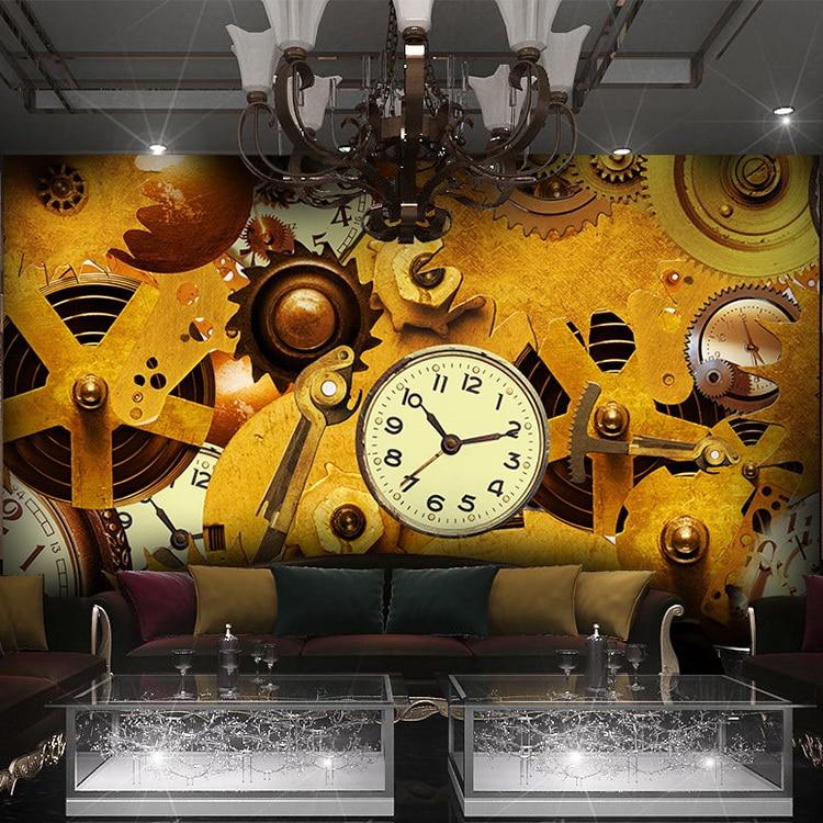 Custom Mural 3D Industrial Metal Gear Machinery Large Mural Bar Cafe Leisure Tea Shop Hotel Bedroom Living Room Mural Wallpaper