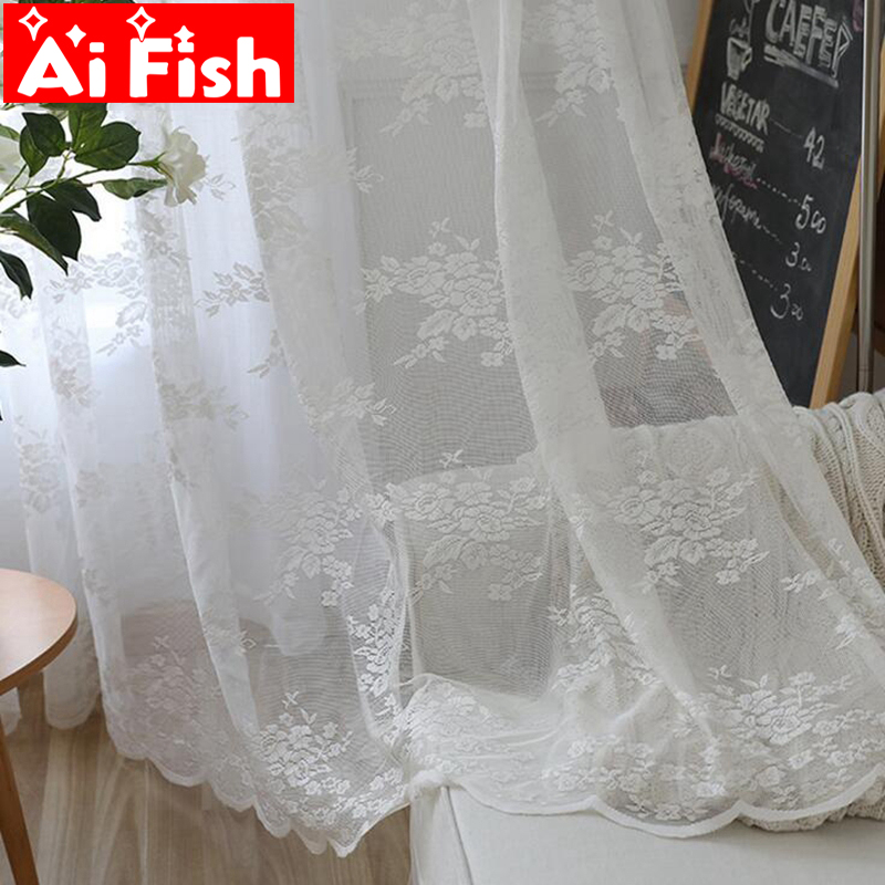 White Korean Mesh Flowers Window Screens Curtains For Living Room Warp Knitting Embroidery Lace Tulle Curtains Panles MY068-30