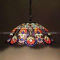 European retro luxury chandelier colorful glass beads Tiffany handmade art garden lighting bar KTV chandelier