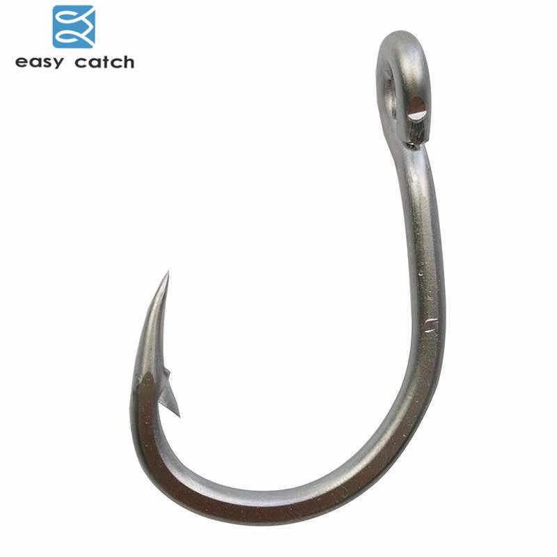 Легко поймать 100 шт. 10884 Нержавеющаясталь белый сильный большой рыбки приманка для тунца рыболовные крючки, размер 3/0 4/0 5/0 6/0 7/0 8/0 9/0 10/0