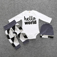 Baby Clothing Sets 2017 Autumn Baby Boys Girls Clothes Long Sleeve Letter Print Romper Pants Hat
