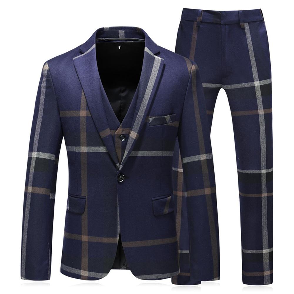 Pantalon Costumes S Qualité Slim Marié Gilet veste Fit Mâle Grille 5xl 3 De Blue Hommes Affaires Mode 2018 gray Bande Haute Pièces Mariage Costume R5IwI