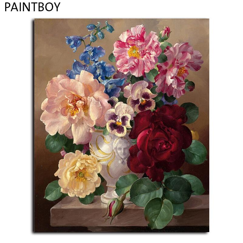 PAINTBOY Gerahmte Bilder Malen Nach Zahlen Moderne Blume Handarbeit  Ölgemälde Auf Leinwand Wohnkultur Für Wohnzimmer GX7055
