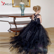 A-line Flower Girl Dresses Lace Criss Cross Straps Open Back Little Black Girl Skirts Sweep Train Tulle Ruched girls ball gowns