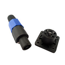 Speaker Connector Locking Plug and Socket 4 Pin Male Compatible Audio Adapter blue