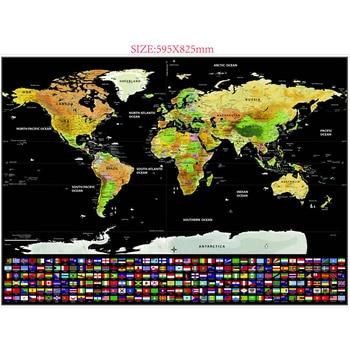 1 шт. карта для путешествий с царапинами, Золотая фольга, карта для путешествий, многослойное покрытие, Карта мира, школьные офисные принадле... >> Yi Wu Stationery Store