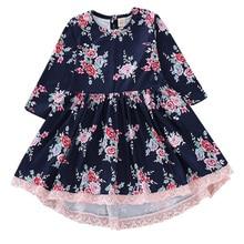 2019 Spring Summer Children's Clothing Baby Girl Princess Dress Lace Long Sleeve Flower Embroidery Design Girls Dress