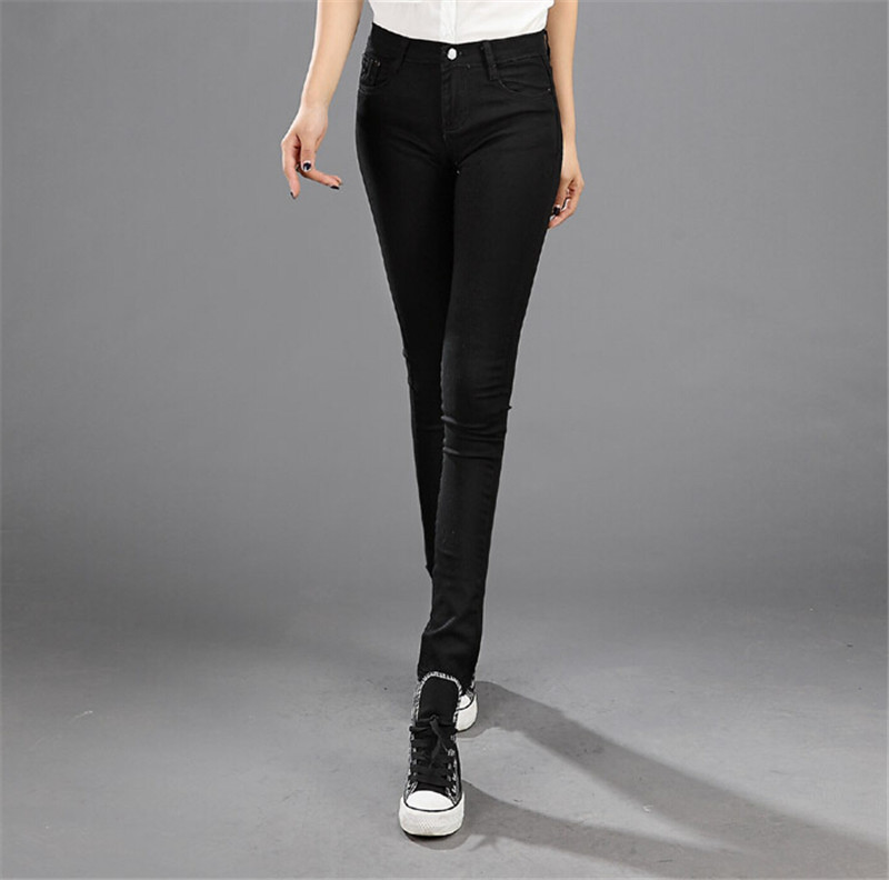 Mainland 2016 Black High Waist Woman Jeans Brand Women Skinny Trousers  Stretch Pencil Jeans Denim Elastic Plus Size 26-31 Pants new pencil pants high waist elastic denim long jeans skinny trousers plus size for woman women ladies feminino