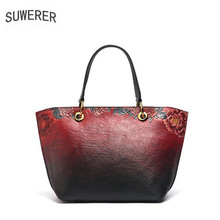 SUWERER 2019 New Women Genuine Leather bags luxury handbags women bag designer Cowhide Embossed bag women leather tote bag недорого