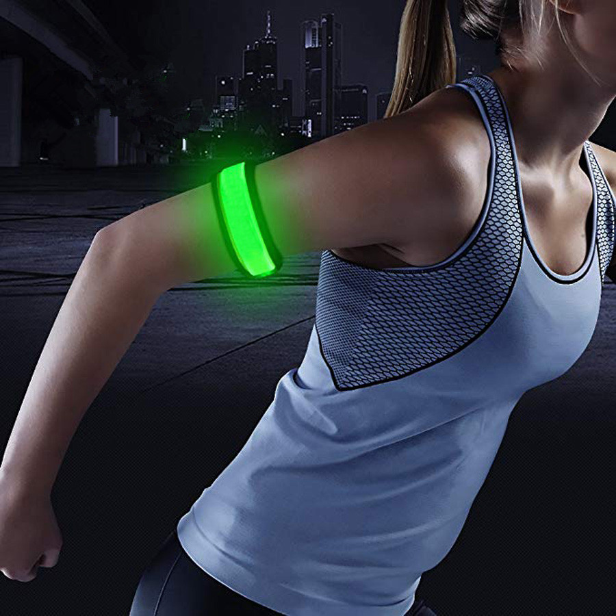 1 Pack Glowing Bracelets Sport LED Wristbands Adjustable Running Light for Runners Joggers Cyclists Bike Warnning Light Battery