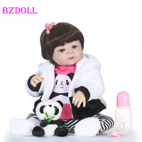 55cm Full Silicone Vinyl Reborn Girl Baby Doll Toys With Panda 22inch Newborn Bebe Princess Babies Alive Bath Toy Play House Toy
