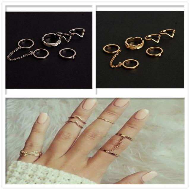 Shiny Punk style Crystal Gold Color Stacking midi Finger Knuckle