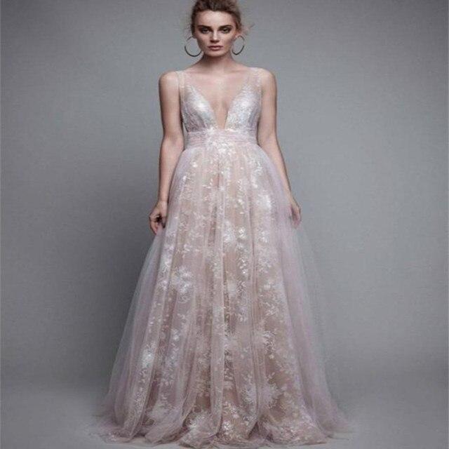 84d547b355d Berta 2017 Sexy Sparkly Wedding Dresses Deep V Neck Backless Lace Applique  A Line Vestido De Noiva Bridal Gowns High Quality