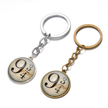 The movie surrounding Harry Potter 9 and 3/4 time precious glass pendant platform Keychain free shipping