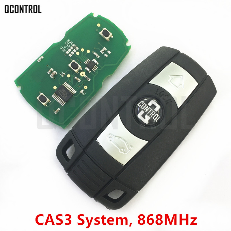 QCONTROL Car Remote Smart Key 868MHz for BMW 1/3/5/7 Series CAS3 X5 X6 Z4 Car Control Transmitter with Chip 4 buttons silicone case for bmw x1 x5 x6 bmw 3 5 7 series smart remote car key cover with emblems