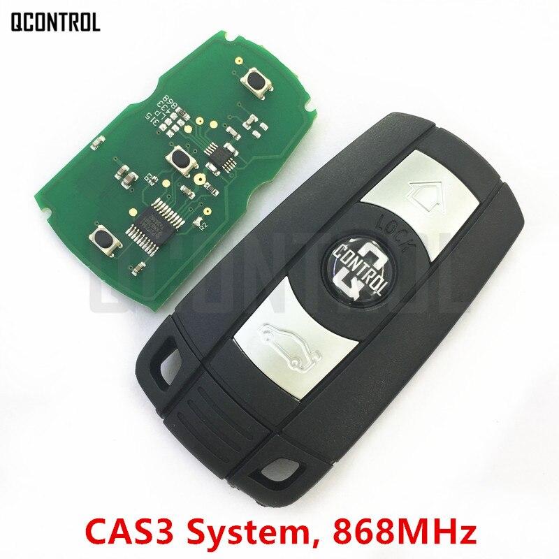 Qcontrol carro remoto chave inteligente 868 mhz para bmw 1/3/5/7 série cas3 x5 x6 z4 transmissor de controle do carro com chip