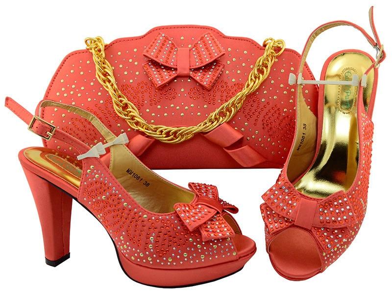 Цвет Коралл Мода обувь для вечеринок и Сумки для объединения комплект Обувь и сумочки итальянский Обувь в африканском стиле на очень высоко...