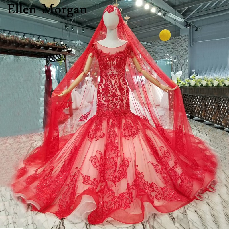 Red Mermaid Wedding Dresses 2019 Summer Beach Garden Merry Custom Made Boat Neck Lace Beaded Long Train  Bridal Gowns