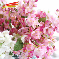 LIN MAN Free Shipping 1 Bouquet Artificial Flowers Cheap Sakura Decoration Flower For Wedding And Home